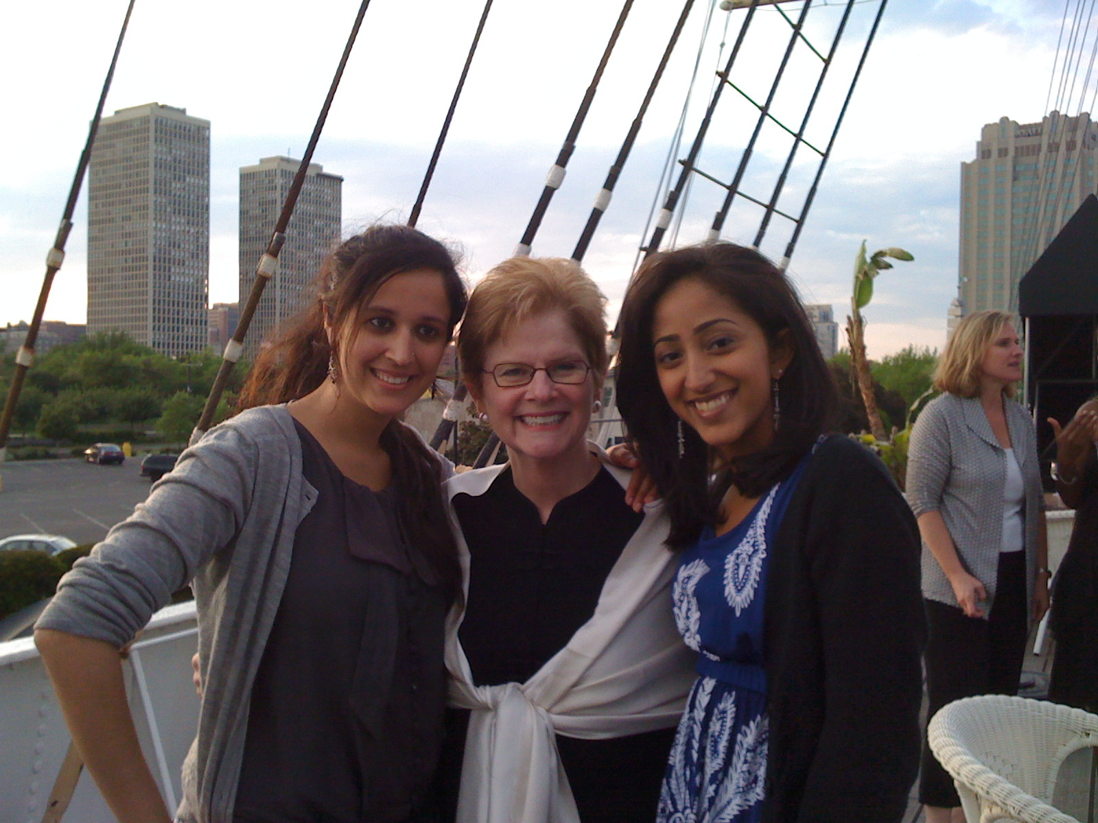 Class of 2009 Co-Presidents Deep Sing and Trina Banerji on the Senior Dinner Cruise with President Jane McAuliffe