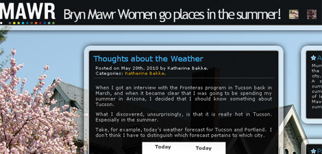 screenshot of blog