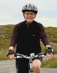 photo of Jane McAuliffe on bicycle