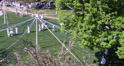 Photo of maypole dancers seen from above
