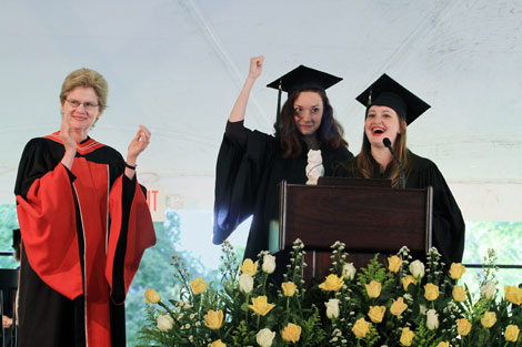 Bryn Mawr President Jane McAuliffe with Senior Class Co-presidents Sam Salazar and Lindsey Turr during the presentation of the senior gift at the Commencement Convocation