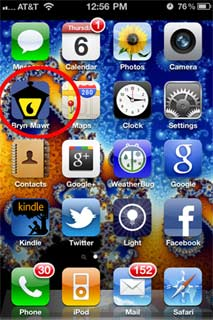 Smartphone screen with lantern icon