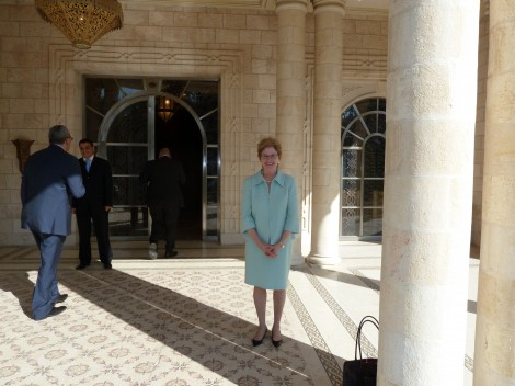 President Jane McAuliffe at the entrance to the king's audience chamber
