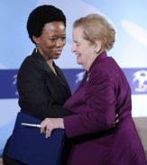 Ntshadi Mofokeng '12 with former U.S. Secretary of State Madeleine Albright
