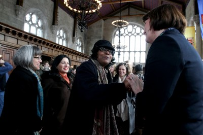 President Cassidy greets well wishers in Thomas Great Hall.