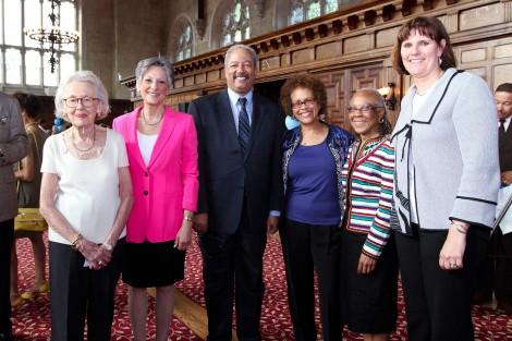 From left: Pat Burland, Allyson Schwartz, MSS '72, Congressman Chaka Fattah, Dean Darlyne Bailey,Tawana Ford Sabbath, MSS '71, PhD '86, Bryn Mawr President Kim Cassidy