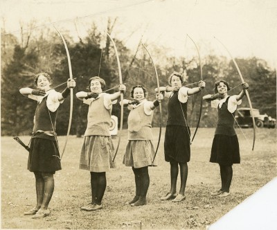 An undated photo of the Bryn Mawr Archery Team. Courtesy of Bryn Mawr College Special Collections